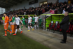 The teams walking to the pitch at the Paisley2021 Stadium before Scottish Championship side St Mirren (in white) played Welsh champions The New Saints in the semi-final of the Scottish Challenge Cup for the right to meet Dundee United in the final. The competition was expanded for the 2016-17 season to include four clubs from Wales and Northern Ireland as well as Scottish Premier under-20 teams. Despite trailing at half-time, St Mirren won the match 4-1 watched by a crowd of 2044, including 75 away fans.
