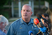 Anne Arundel County Acting Police Chief William Krampf updates the media on the crime scene investigation at 888 Bestgate Road; Annapolis, Maryland, where a shooter opened fire at the Capital Gazette newspaper killing five people and injuring many others on Thursday, June 28, 2018.  <br /> Credit: Ron Sachs / CNP<br /> (RESTRICTION: NO New York or New Jersey Newspapers or newspapers within a 75 mile radius of New York City)