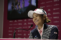 Ai Miyazato (JPN) Playing her final tournament of her career press conference during Tuesday's Practice Day of The Evian Championship 2017, the final Major of the ladies season, held at Evian Resort Golf Club, Evian-les-Bains, France. 12th September 2017.<br /> Picture: Eoin Clarke | Golffile<br /> <br /> <br /> All photos usage must carry mandatory copyright credit (&copy; Golffile | Eoin Clarke)