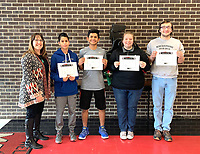 Photo Submitted MCHS Students for the week of Jan. 21 through Jan. 25 are principal, Mrs. Holloway (left), freshman, Bryan Montero-Gutierrez, sophomore, Alexis Pedroza, junior Autumn Hottinger, and senior Andrew Franks.