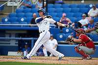 Dunedin Blue Jays third baseman Mitch Nay (28) at bat during the first game of a doubleheader against the Palm Beach Cardinals on August 2, 2015 at Florida Auto Exchange Stadium in Dunedin, Florida.  Palm Beach defeated Dunedin 4-1.  (Mike Janes/Four Seam Images)