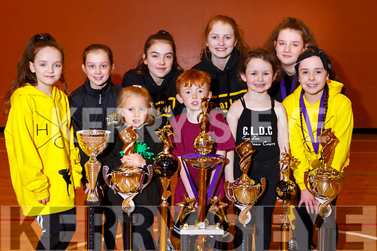 Dancers from Cassie Leen's School of Dance with some of the trophies won at the British and Irish Masters International Freestyle Dance Championships held in the Brandon Hotel recently, front l-r: Serena Slattery, Rian Duffy, Leah O'Sullivan, Tanisha Horan. Back l-r: Katelynn Diggins, Shawna Quinlan, Ruby Ryall, Grace O'Sullivan, Kate Brophy.