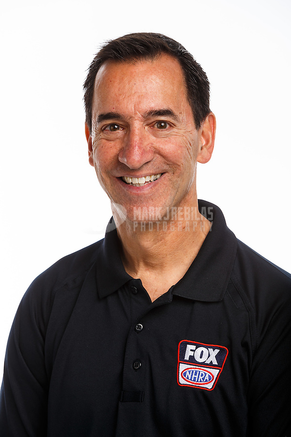 Feb 10, 2016; Pomona, CA, USA; Fox Sports television analyst/statistician Lewis Bloom poses for a portrait during NHRA media day at Auto Club Raceway at Pomona. Mandatory Credit: Mark J. Rebilas-USA TODAY Sports