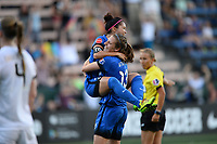 Seattle, WA - Saturday June 24, 2017: Nahomi Kawasumi, Rebekah Stott during a regular season National Women's Soccer League (NWSL) match between the Seattle Reign FC and FC Kansas City at Memorial Stadium.