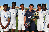 Joe Edwards, Chelsea Under 23 Coach and England Coach, proudly holds the trophy with his five Chelsea players in the England squad, No 12 Tariq Uwakwe, No 20  Ike Ugbo, No 3 Josh Grant, No 2 Reece James and No 19 Martell Taylor-Crossdale during England Under-18 vs Ivory Coast Under-20, Toulon Tournament Final Football at Stade de Lattre-de-Tassigny on 10th June 2017
