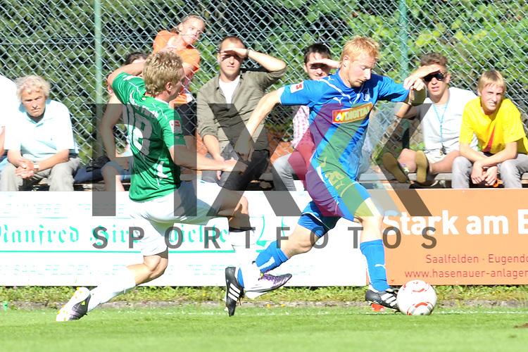 Leogang &Ouml;sterreich 31.07.2010, 1.Fu&szlig;ball Bundesliga Testspiel TSG 1899 Hoffenheim - Greuther F&uuml;rth, der F&uuml;rther Leonard Haas gegen Hoffenheims Andreas Ibertsberger<br /> <br /> Foto &copy; Rhein-Neckar-Picture *** Foto ist honorarpflichtig! *** Auf Anfrage in h&ouml;herer Qualit&auml;t/Aufl&ouml;sung. Belegexemplar erbeten. Ver&ouml;ffentlichung ausschliesslich f&uuml;r journalistisch-publizistische Zwecke.