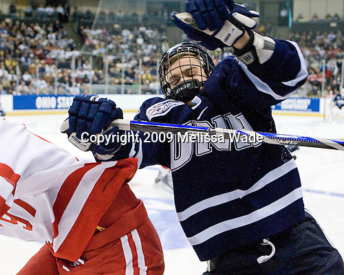 Kevin Kapstad (UNH - 5) - The Boston University Terriers defeated the University of New Hampshire Wildcats 2-1 on Sunday, March 29, 2009 in the NCAA Northeast Regional Final at the Verizon Wireless Arena in Manchester, New Hampshire.