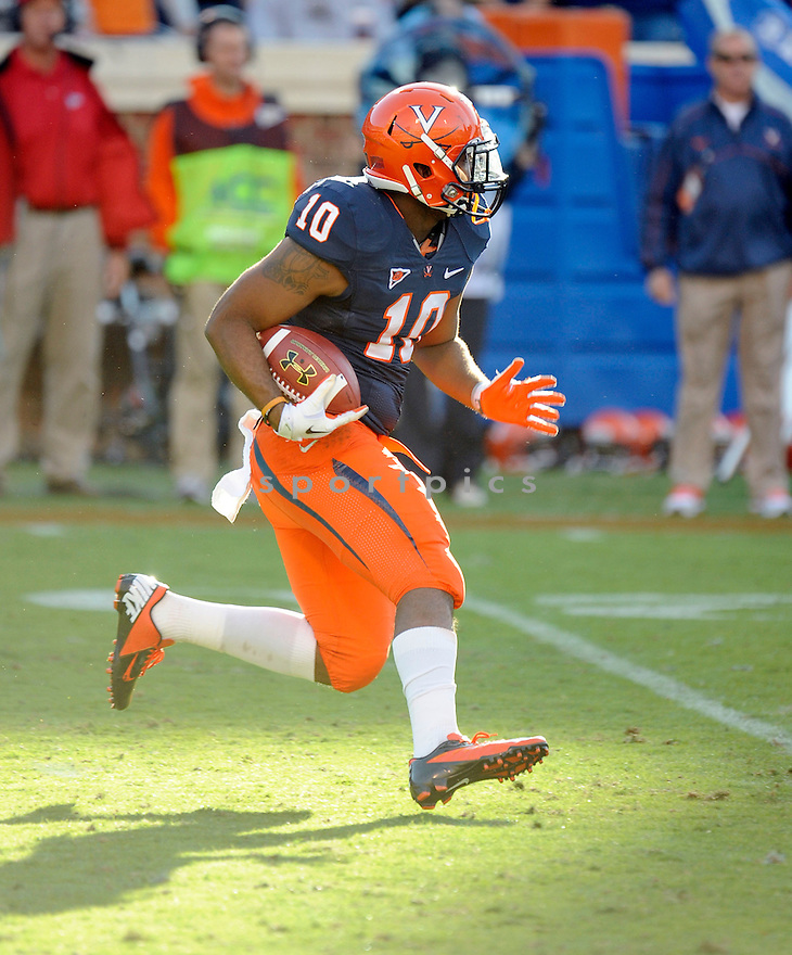 Virginia Cavaliers Clifton Richardson (10) in action during a game against Maryland on October 13, 2012 at Scott Stadium in Charlottesville, VA. Maryland beat Virginia 27-20.