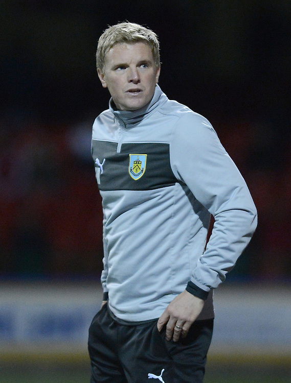 Burnley's Manager Eddie Howe looking dejected ..Football - Capital One Cup Third Round - Swindon Town v Burnley - Tuesday 25th September 2012 - The County Ground - Swindon. .