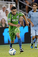 Lamar Neagle (27) midfielder Seattle Sounders in action... Sporting Kansas City were defeated 1-2 by Seattle Sounders at LIVESTRONG Sporting Park, Kansas City, Kansas.