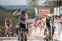 World Champion Anna van der Breggen (NED/Boels Dolmans) wins her 5th Flèche in a row!  Annemiek Van Vleuten (NED/Mitchelton Scott) finishes 2nd place and Annika Langvad (DEN/Boels Dolmans) finishes 3th place. <br /> <br /> 22nd la Flèche Wallonne Féminin 2019 (1.WWT)<br /> 1 Day Race: Huy – Huy 118,5km<br /> women's elite race<br /> <br /> ©kramon