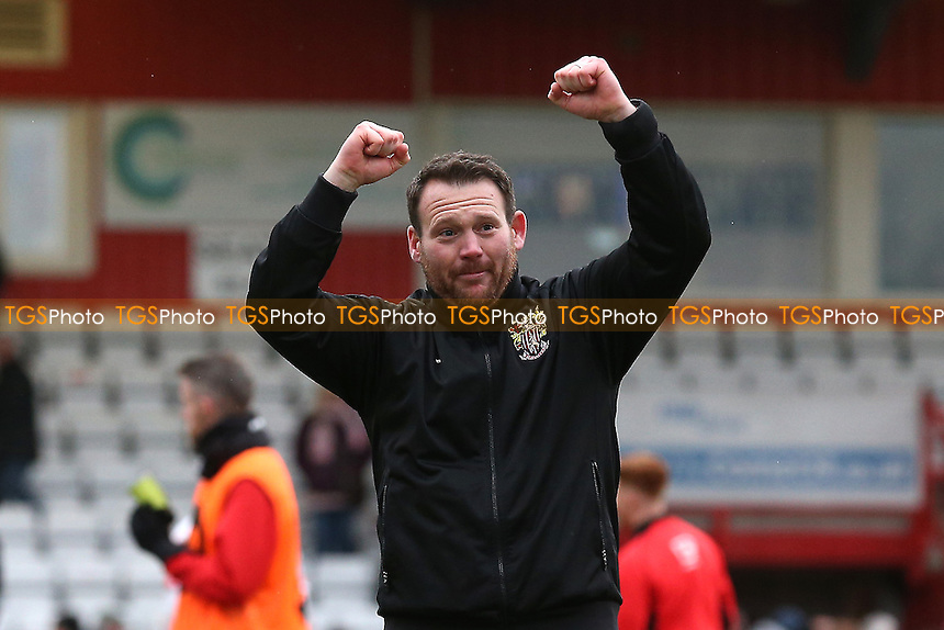 Stevenage manager Darren Sarll celebrates victory during Stevenage vs Notts County, Sky Bet EFL League 2 Football at the Lamex Stadium on 4th March 2017