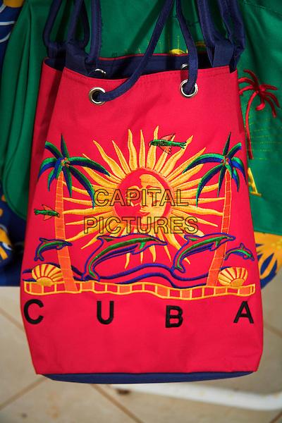 Brightly coloured Cuba shopping bag on display outside a shop, Havana, Habana Vieja, Cuba