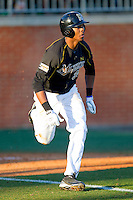 Blake Brown #39 of the Missouri Tigers hustles down the first base line against the Charlotte 49ers at Robert and Mariam Hayes Stadium on February 25, 2011 in Charlotte, North Carolina.  Photo by Brian Westerholt / Four Seam Images