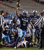 Arkansas Democrat-Gazette/MELISSA SUE GERRITS - 12/05/15 -  Har-Ber's Austin Henderson celebrates a recovered ball middle of the 3rd quarter during their 7A Championship game against Fayetteville December 5, 2015 at War Memorial Stadium in Little Rock.