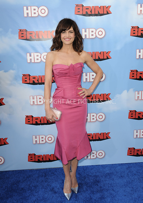 WWW.ACEPIXS.COM<br /> <br /> June 8 2015, Hollywood Ca<br /> <br /> Carla Gugino arriving at HBO's Brink premiere on June 8, 2015 at the Paramount Theater in Hollywood Ca.<br /> <br /> Please byline: Peter West/ACE Pictures<br /> <br /> ACE Pictures, Inc.<br /> www.acepixs.com<br /> Email: info@acepixs.com<br /> Tel: 646 769 0430