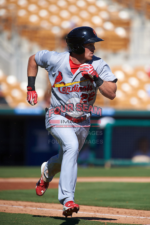 Surprise Saguaros outfielder Charlie Tilson (22) runs to first during an Arizona Fall League game against the Glendale Desert Dogs on October 24, 2015 at Camelback Ranch in Glendale, Arizona.  Surprise defeated Glendale 18-3.  (Mike Janes/Four Seam Images)