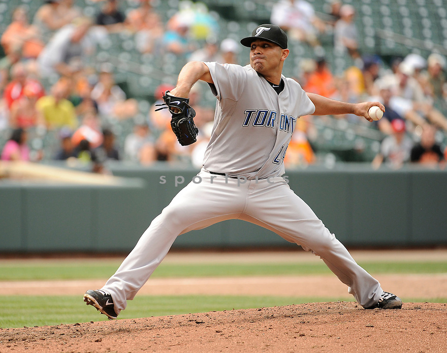 RICKY ROMERO, of the Toronto Blue Jays, in action during the Blue Jays game against the Baltimore Orioles on August 7, 2011 at Oriole Park in Baltimore, Maryland. The Blue Jays beat the Orioles 7-2.