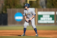 John Clay Reeves (7) of the Rice Owls takes his lead off of second base against the Charlotte 49ers at Hayes Stadium on March 6, 2015 in Charlotte, North Carolina.  The Owls defeated the 49ers 4-2.  (Brian Westerholt/Four Seam Images)