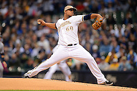 Milwaukee Brewers pitcher Wily Peralta #60 during a game against the Minnesota Twins at Miller Park on May 27, 2013 in Milwaukee, Wisconsin.  Minnesota defeated Milwaukee 6-3.  (Mike Janes/Four Seam Images)