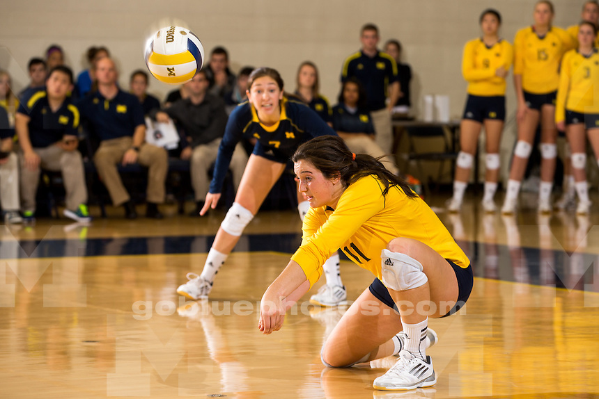The University of Michigan volleyball team falls to Penn State, 3-1, at Cliff Keen Arena in Ann Arbor, Mich. on November 1, 2013.