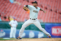 Norfolk Tides starting pitcher Ariel Miranda (35) during a game against the Buffalo Bisons on July 18, 2016 at Coca-Cola Field in Buffalo, New York.  Norfolk defeated Buffalo 11-8.  (Mike Janes/Four Seam Images)