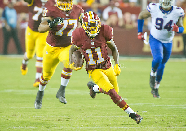 Washington Redskins wide receiver DeSean Jackson (11) carries the ball for a long gain after making a reception in the second quarter of the preseason game against the Buffalo Bills at FedEx Field in Landover, Maryland on Friday, August 26, 2016.  The Redskins won the game 21 - 16.<br /> Credit: Ron Sachs / CNP/MediaPunch ***FOR EDITORIAL USE ONLY***