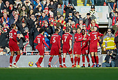 9th February 2019, Anfield, Liverpool, England; EPL Premier League football, Liverpool versus AFC Bournemouth; Sadio Mane of Liverpool celebrates with his team mates after he scores his side's first goal after 24  minutes to make the score 1-0