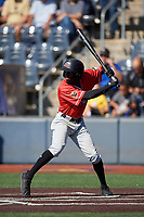 Batavia Muckdogs Milton Smith II (33) at bat during a NY-Penn League game against the West Virginia Black Bears on August 29, 2019 at Monongalia County Ballpark in Morgantown, New York.  West Virginia defeated Batavia 5-4 in ten innings.  (Mike Janes/Four Seam Images)