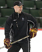 Brett Larson (Duluth - Assistant Coach) - The University of Minnesota-Duluth Bulldogs practiced on Friday morning, April 8, 2011, during the 2011 Frozen Four at the Xcel Energy Center in St. Paul, Minnesota.