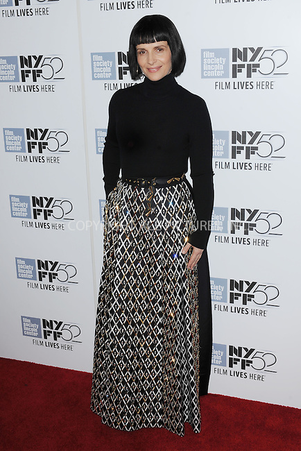 WWW.ACEPIXS.COM<br /> October 8, 2014 New York City<br /> <br /> Juliette Binoche attending a screening of 'Clouds Of Sils Maria'  during the 52nd New York Film Festival at Alice Tully Hall on October 8, 2014 in New York City<br /> <br /> By Line: Kristin Callahan/ACE Pictures<br /> ACE Pictures, Inc.<br /> tel: 646 769 0430<br /> Email: info@acepixs.com<br /> www.acepixs.com
