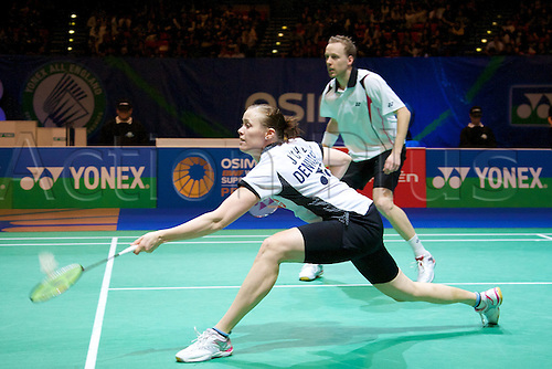 11.03.2012 Birmingham, England. Thomas Laybourn (DEN) and Kamilla Rytter Juhl (DEN)  in action during the Yonex All England Open Badminton Championships at the National Indoor Arena.