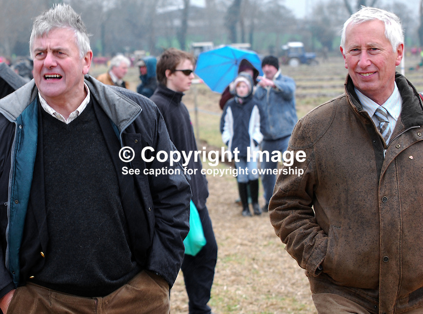 JIm Nicholson, Ulster Unionist, MEP, left, who will be fighting to retain his European seat in June, with fellow Unionist, Billy Armstrong, MLA, Mid-Ulster, Cookstown, Co Tyrone, N Ireland, UK. Taken 28 February 2009 at 95th annual ploughing match of Mullahead &amp; District Ploughing Society, Co Down, N Ireland, UK.<br />