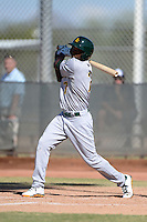 Oakland Athletics outfielder Aaron Shipman (7) during an Instructional League game against the Milwaukee Brewers on October 10, 2013 at Maryvale Baseball Park Training Complex in Phoenix, Arizona.  (Mike Janes/Four Seam Images)