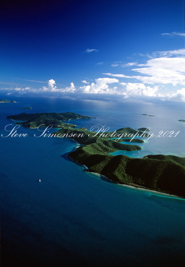Aerial view of St John's east end including Hurricane Hole.U.S. Virgin Islands
