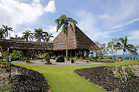 The pavilion has a tradiitonal thatched roof and overlooks the Koro Sea