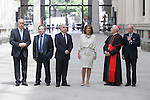 Vicente del Bosque (L), Rafael Matesanz (2L), Jose Varela Ortega (3L), Ana Botella and Rouco Varela (2R) during the Medalla de Oro de Madrid (Madrid´s golden medal) awards ceremony at Madrid´s city hall. May 5, 2014. (ALTERPHOTOS/Victor Blanco)