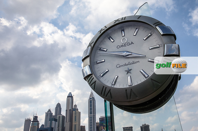 Omega standing clock ahead of the 2016 Omega Dubai Desert Classic played at the Emirates Golf Club, Dubai, United Arab Emirates.  30/01/2016. Picture: Golffile | David Lloyd<br /> <br /> All photos usage must carry mandatory copyright credit (&copy; Golffile | David Lloyd)