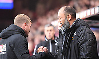 23rd November 2019; Vitality Stadium, Bournemouth, Dorset, England; English Premier League Football, Bournemouth Athletic versus Wolverhampton Wanderers; Nuno Espirito Santo Manager of Wolverhampton Wanderers and Eddie Howe Manager of Bournemouth shake hands before kick off - Strictly Editorial Use Only. No use with unauthorized audio, video, data, fixture lists, club/league logos or 'live' services. Online in-match use limited to 120 images, no video emulation. No use in betting, games or single club/league/player publications