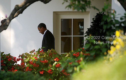 United States President Barack Obama departs the Oval Office of the White House on September, 27, 2012 in Washington, D.C . The President will attend a campaign event  in Virginia Beach, Virginia..Credit: Olivier Douliery / Pool via CNP