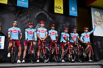 Team Katusha Alpecin on stage at the team presentation before Stage 1 of the Criterium du Dauphine 2019, running 142km from Aurillac to Jussac, France. 9th June 2019<br /> Picture: ASO/Alex Broadway | Cyclefile<br /> All photos usage must carry mandatory copyright credit (© Cyclefile | ASO/Alex Broadway)