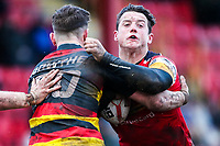 Picture by Alex Whitehead/SWpix.com - 11/02/2018 - Rugby League - Betfred Championship - Dewsbury Rams vs London Broncos - Tetleys Stadium, Dewsbury, England - London's Matthew Gee is tackled by Dewbury's Jordan Crowther.