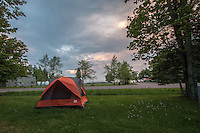 Camping in Little Sand Bay Recreation Area in the Apostle Islands National Lakeshore near Bayfield Wisconsin.