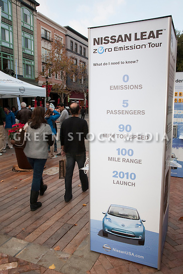 Nissan Leaf Zero Emission Tour promotional event for the Nissan Leaf electric car that is scheduled to be released in Fall 2010. Car specs from Nissan: 5 person capacity, 90 MPH top speed, lithium-ion battery, 100 mile average range per charge. Santana Row, San Jose, California, USA, 12/5/09