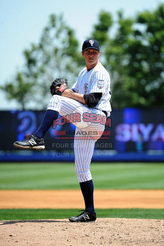 Staten Island Yankees pitcher Andrew Benak (30) during game against the Batavia Muckdogs at Richmond County Bank Ballpark at St.George on July 18, 2013 in Staten Island, NY.  Batavia defeated Staten Island 8-2.  (Tomasso DeRosa/Four Seam Images)