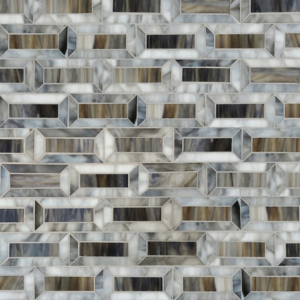 Pandora, a waterjet jewel glass mosaic, is shown in Tourmaline and Lavastone.