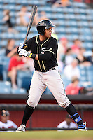Omaha Storm Chasers catcher Francisco Pena (26) at bat during a game against the Nashville Sounds on May 19, 2014 at Herschel Greer Stadium in Nashville, Tennessee.  Nashville defeated Omaha 5-4.  (Mike Janes/Four Seam Images)
