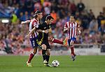 Vicente calderon Stadium. Madrid. Spain. 09/04/2014. Match between Barcelona and Atletico Madrid, Champions League. The image shows: Leo Messi and Filipe Luiz