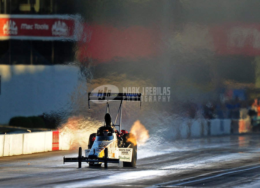 Sept. 4, 2010; Clermont, IN, USA; NHRA top fuel dragster driver Chris Karamesines during qualifying for the U.S. Nationals at O'Reilly Raceway Park at Indianapolis. Mandatory Credit: Mark J. Rebilas-