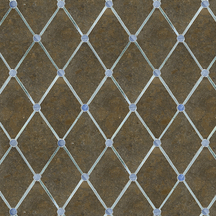 Quilt, a waterjet stone mosaic, shown in polished Blue Macauba, polished Kay's Green, honed Montevideo.